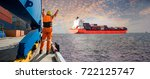 panorama  container ship vessel ... | Shutterstock . vector #722125747