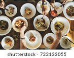 indoors banquet tableware event ... | Shutterstock . vector #722133055