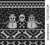 winter knitted sweater design... | Shutterstock .eps vector #722133229