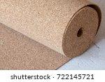 natural cork roll on the floor  ... | Shutterstock . vector #722145721