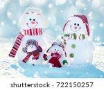 Snowman On Snow. Mother  Fathe...