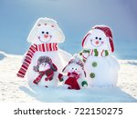 snowman on snow. mother  father ... | Shutterstock . vector #722150275