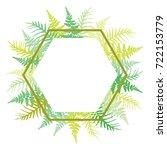 hexagon fern frond frame vector ... | Shutterstock .eps vector #722153779