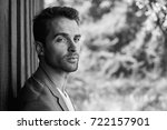 handsome man with stubble in... | Shutterstock . vector #722157901