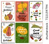birthday cards in autumn style. ... | Shutterstock .eps vector #722159794