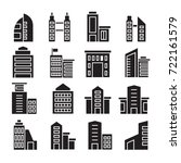 vector set of building icons | Shutterstock .eps vector #722161579