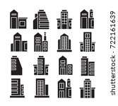 vector set of building icons | Shutterstock .eps vector #722161639
