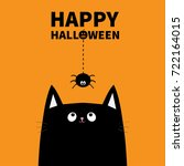 happy halloween pumpkin text.... | Shutterstock .eps vector #722164015