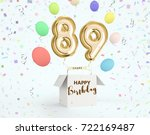 happy birthday 89 years... | Shutterstock . vector #722169487