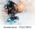 digital watercolor painting.... | Shutterstock . vector #722172871