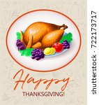 thanksgiving turkey with fruits ... | Shutterstock .eps vector #722173717