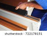 contractor installing garage... | Shutterstock . vector #722178151