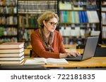 senior woman using laptop in...   Shutterstock . vector #722181835
