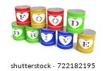 nine stacked tin cans in... | Shutterstock . vector #722182195