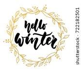 hello  winter   hand drawn... | Shutterstock .eps vector #722182501