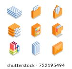 simple set of business icons in ... | Shutterstock .eps vector #722195494