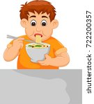children eating noodles cartoon ... | Shutterstock .eps vector #722200357