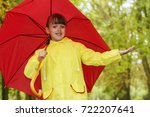 the girl in the rain with an... | Shutterstock . vector #722207641