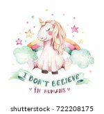 isolated cute watercolor... | Shutterstock . vector #722208175
