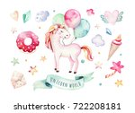 isolated cute watercolor... | Shutterstock . vector #722208181