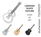acoustic guitar icon in cartoon ...   Shutterstock .eps vector #722209237