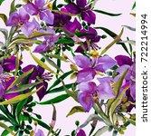 summer garden flowers seamless  ... | Shutterstock . vector #722214994