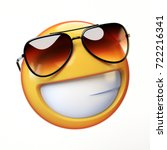 cool emoji isolated on white... | Shutterstock . vector #722216341