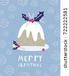 greeting card  merry christmas. ... | Shutterstock .eps vector #722222581