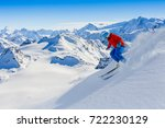skiing with amazing view of... | Shutterstock . vector #722230129