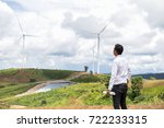 engineer in wind mill power... | Shutterstock . vector #722233315