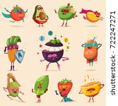funny fruits and vegetables in... | Shutterstock .eps vector #722247271