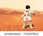 man in a space suit standing on ... | Shutterstock . vector #722247811