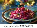 red cabbage salad with apples... | Shutterstock . vector #722248621