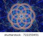 colored pattern on a blue... | Shutterstock . vector #722253451