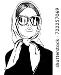 fashion woman in sunglasses and ... | Shutterstock .eps vector #722257069