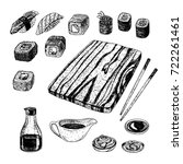 hand drawn set of sushi and... | Shutterstock .eps vector #722261461