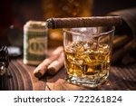 glas with whiskey over ice... | Shutterstock . vector #722261824