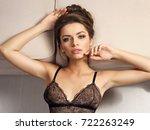 elegant female model with... | Shutterstock . vector #722263249