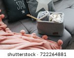 knitted basket with yarn and... | Shutterstock . vector #722264881