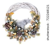 traditional christmas wreath...   Shutterstock . vector #722268121