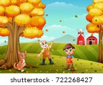 vector illustration of cartoon... | Shutterstock .eps vector #722268427