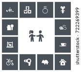 set of 13 editable folks icons. ...