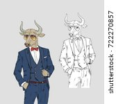bull dressed up in classy style ... | Shutterstock .eps vector #722270857