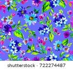 floral ditsy tiling pattern.... | Shutterstock . vector #722274487