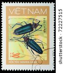 VIETNAM - CIRCA 1980s: A stamp printed in Vietnam shows animal insect long horn beetle bug, circa 1980s - stock photo