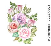 roses bouquet.watercolor | Shutterstock . vector #722277025