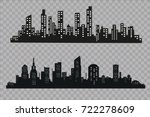 the silhouette of the city in a ... | Shutterstock .eps vector #722278609