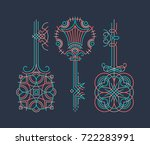 color line ornamental key set ... | Shutterstock .eps vector #722283991