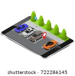 parking lot displayed on screen.... | Shutterstock .eps vector #722286145