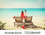 christmas on beach  chair... | Shutterstock . vector #722286469